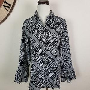 Geometric collared long career sleeve blouse, XS